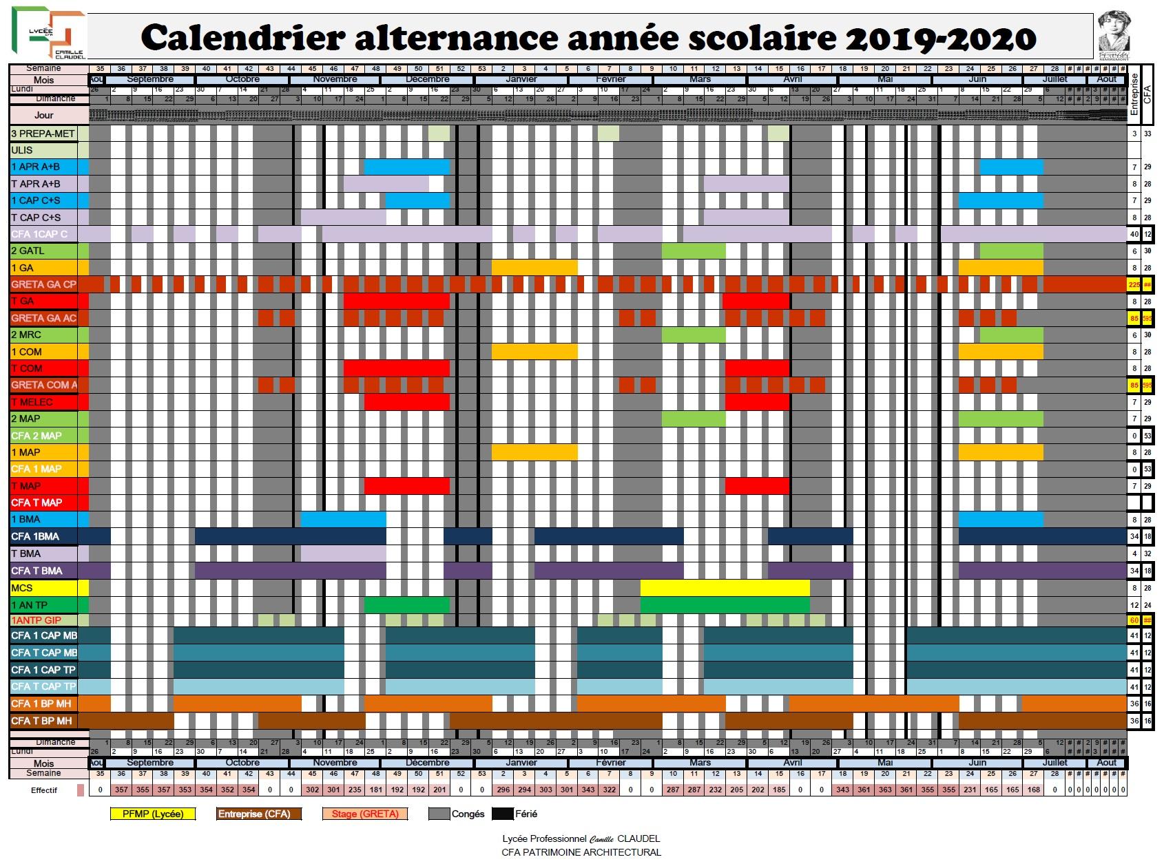 Calendrier alternance année scolaire 2019-2020