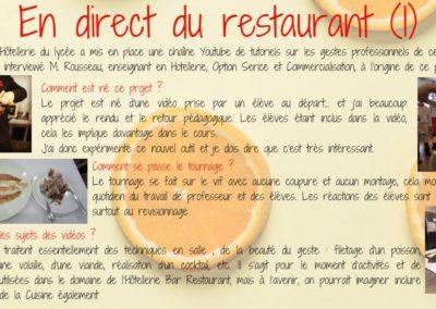 En direct du restaurant